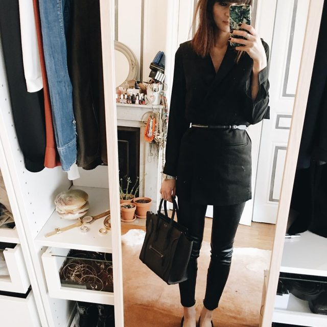 FRIDAY outfit look black leather pants coat bag love lookofthedayhellip