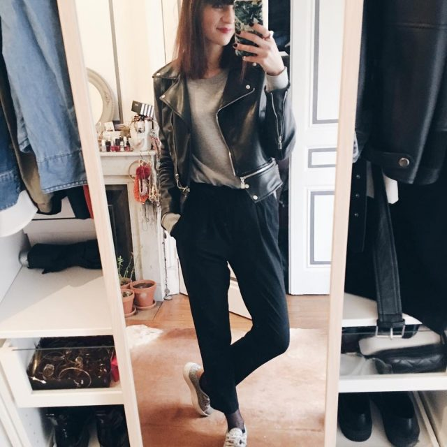 monday morning outfit lookoftheday casual style red lips leather coathellip